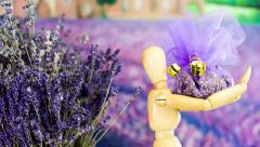 Making Gift Present from Lavender Fragrance Tilting camera Stock Footage