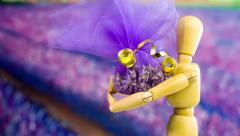 Making Gift Present from Lavender Fragrance Stock Footage