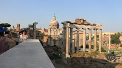 Stock Video Footage of Tourists take pictures at Rome Ancient City - dolly 1