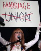Stock Photo of kathy griffith.prop8 march .held on santa monica blvd .west hollywood.califor