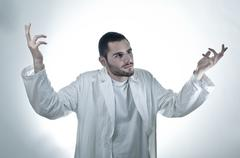 wondering researcher - stock photo