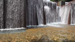 Public Park Stone Water Fountain in Downtown Portland Oregon Stock Footage