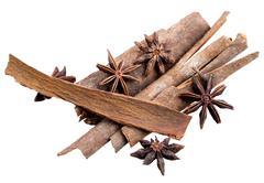 Anice and cinnamon macro background Stock Photos