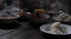 Steaming Soup Rice Eat Food Hands Stock Footage
