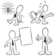 Cartoon business people black and white Stock Illustration