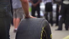 Nascar Tire Rolling In Super Slow Motion 240fps Stock Footage