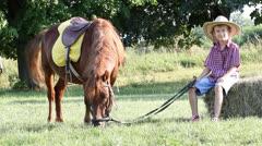Boy and pony horse on farm Stock Footage