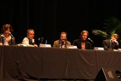Robert knott, tom mccarthy, andrew stanton, dustin lance black.santa barbara Stock Photos