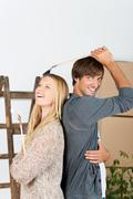 Stock Photo of having fun while renovation