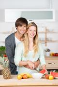 amorous couple hugging - stock photo