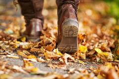 Woman walking on a street full of dead leaves Stock Photos