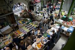 panoramic view borough market london ingland - stock photo