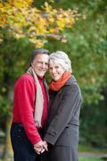 Happy senior couple in love in a summer day Stock Photos