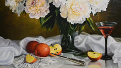 Modern Still Life Painting Stock Footage