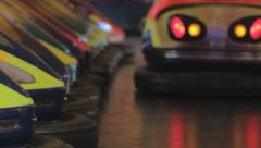 Bumper cars in action, Closeup Stock Footage