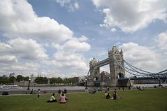 panoramic view tower bridge an people london city ingland - stock photo