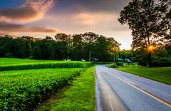 Sunset over a country road in southern york county, pennsylvania. Stock Photos