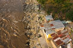 slums in magdalena river. colombia - stock photo