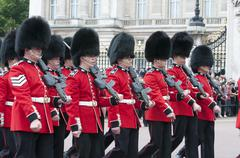 changing of guard bukingham palace london - stock photo
