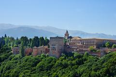 alhambra palace and mountains spain - stock photo