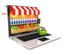 3d supermarket laptop - stock illustration