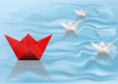 Winner paper ship Stock Illustration