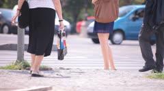Hot Sexy Legs of Women Walking Down the Street Stock Footage