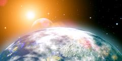 risins sun over the planet earth, abstract backgrounds. no nasa imagery used - stock photo