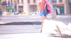 Hot Sexy Legs of Women Walking Down the Street Stock Footage