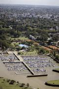 aerial view port and buenos aires argentina - stock photo