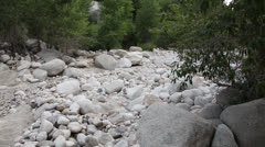 Dry riverbed pan - stock footage