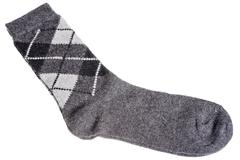 Warm woolen socks with a pattern of diamonds Stock Photos