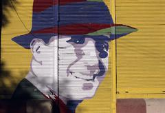 Carlos gardel face painted in a mural buenos aires argentina Stock Photos