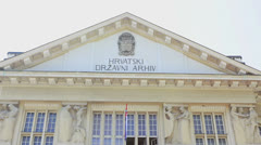 Croatian national archive building, Zagreb - stock footage