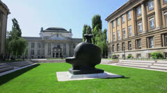 Marko Marulic square and national archive, Zagreb - stock footage