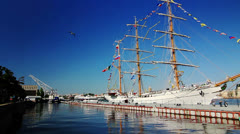 Panoramic of White Three-masted sailing ship - stock footage