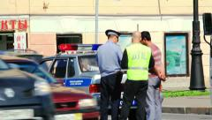 Traffic accident on a busy street - stock footage