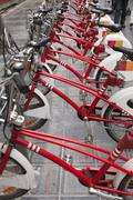 row of bicycles for rent - stock photo