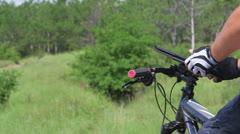 Mountain biker using sports tracker app on digital tablet - stock footage