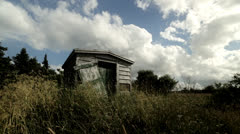 Old Shed in Field Stock Footage