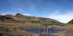 black lagoon. andean landscape. - stock photo
