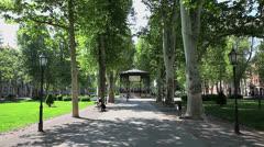 Promenade in park Zrinjevac, Zagreb Stock Footage