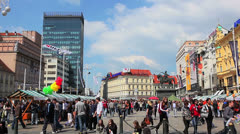 Ban Jelacic Square in Zagreb - stock footage
