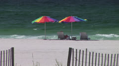 Beach Umbrellas Shade Stock Footage