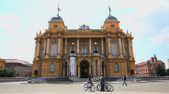 Croatian national theater HNK building Stock Footage