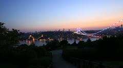 Blue time Fatih Sultan Mehmet Bridge 2 Stock Footage