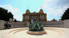Croatian national theater building Stock Footage
