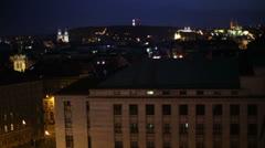 Prague night roof view 04 Stock Footage