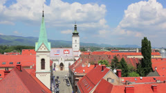 Panorama of the upper old town, Zagreb Stock Footage