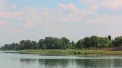 Jarun lake in spring time, Zagreb Stock Footage